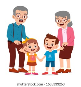 happy cute old man and woman with family together