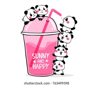 Happy cute pandas drink fruit pink cocktail in a plastic glass to take and go with a straw on white background. Vector illustration of many lovely cartoon pandas. Flat line art style design for card