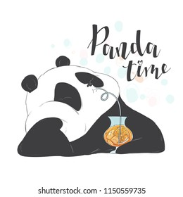 Happy cute pandas drinks through a straw fruit pink cocktail in a glass to take. Vector illustration flat hand drawn line art style design for card.