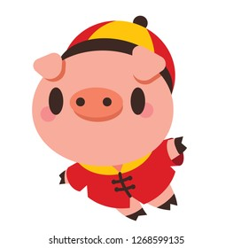 Happy cute pig flying. The year of pig 2019. Chinese New Year Pig