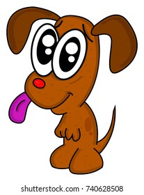 Happy cute puppy cartoon. Vector illustration. Transparent background.