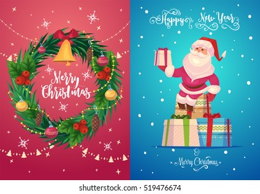 Happy cute Santa with gifts. Christmas greeting card background poster. Vector illustration. Merry christmas and Happy new year.