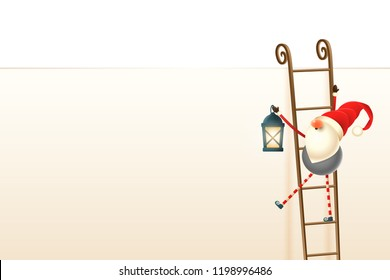 Happy Cute  Scandinavian Christmas gnome climb up the billboard using ladders. Insert text or other elements