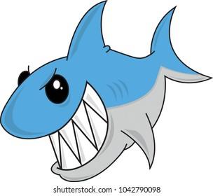 Happy cute scary shark cartoon. Vector illustration. Transparent background.