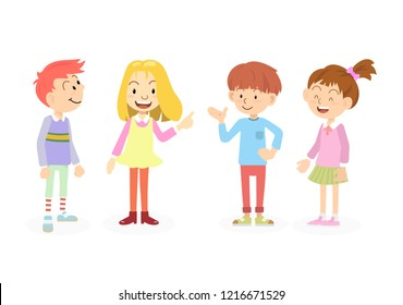 Happy and cute school kids talk with friends. Concept for education and children day.