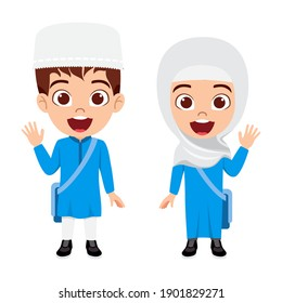 Happy cute smart Arab Muslim kid boy and girl student character wearing hijab and Panjabi and waving with cheerful expression with bag isolated
