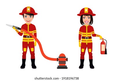Happy cute smart fireman characters wearing fire service outfits and waving isolated with fire extinguisher and hose
