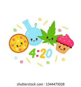 Happy cute smiling bong,cannabis leaf,pizza and cupcake. Vector flat cartoon character illustration icon.Isolated on white background. Smoke,cannabis,weed concept