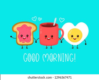 Happy cute smiling funny kawaii fried egg,cup of tea,coffee and toast with jam.Vector flat cartoon character illustration icon.Cute kawaii fried heart form egg,coffee,toast,good morning card concept