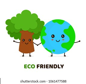 Happy cute smiling green tree and Earth planet.Ecology, eco friendly concept. Vector flat cartoon character illustration icon design. Isolated on white background. Ecology card,poster