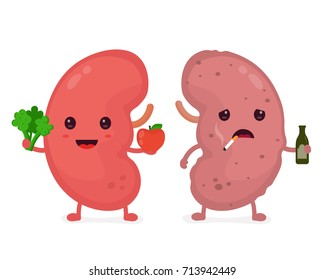 Happy cute smiling healthy with broccoli and apple and sad sick kidney with  a bottle of alcohol and a cigarette. Vector modern style cartoon character illustration icon design. kidneys concept.