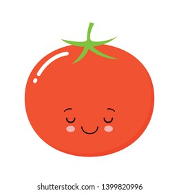 Happy cute smiling tomato. Vector flat cartoon character illustration icon. Isolated on white background. Cute tomato vegetable character concept