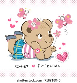 Happy cute teddy bear girl in summer clothes with butterflies flying around isolated on white background illustration vector.