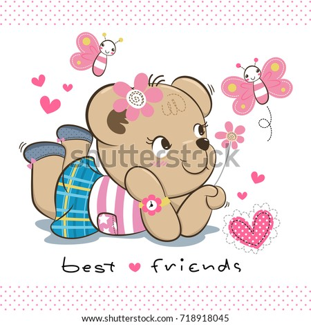 e80198695bfb Happy Cute Teddy Bear Girl Summer Stock Vector (Royalty Free ...