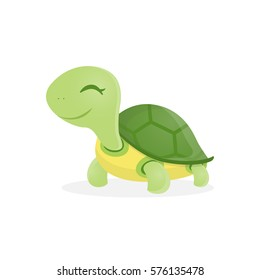 Happy cute turtle walking with smile, Vector cartoon illustration.