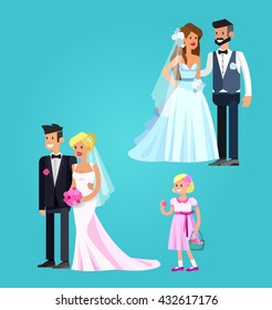 Happy cute wedding couple. Vector detailed character, beautiful  smiling bride and groom. Cool flat illustration
