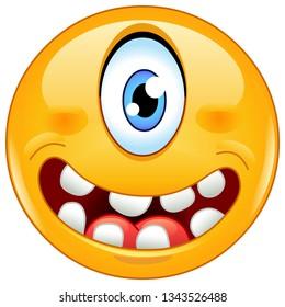 Happy cyclops single eye monster emoticon
