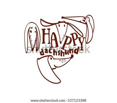 Happy Dachshund Funny Drawings Freehand Drawings Stock Vector