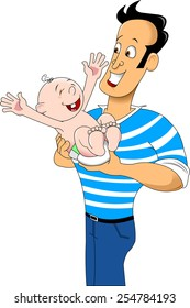 Happy dad is holding her child, vector and illustration