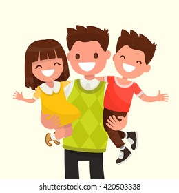 Happy Dad holding his son and daughter. Vector illustration of a flat design.