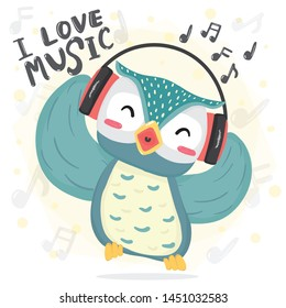 happy dance blue owl listen music and sing song with headphone, printable flat vector cute cartoon for kid, childhood, children stuff