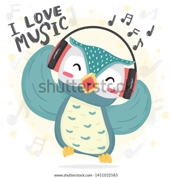 Happy Dance Blue Owl Listen Music Stock Vector Royalty Free 1451032583