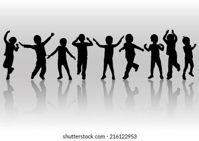 happy dancing children