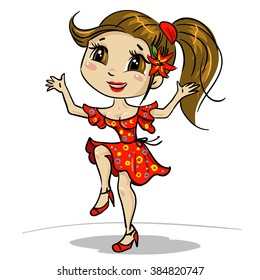 Happy dancing girl. Cute dancing woman. Dancer wearing red dress and red shoes in movement. Joyous female cartoon character. Joyful instructor (trainer or coach) of dancing. Isolated on white.