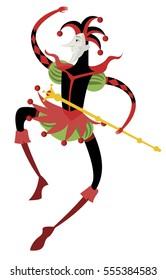 happy dancing harlequin