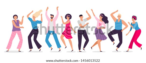 Happy dancing people. Friends dance, club female and male dancers. Exciting music party, disco dancing friends character flat vector illustration