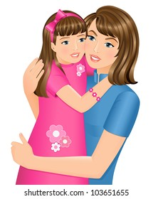 Happy daughter hugging her mother on Mother�s Day. Isolated on white background.