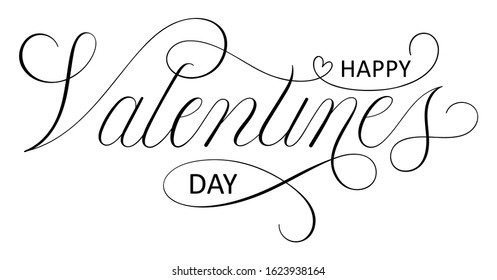 HAPPY VALENTINE'S DAY black vector copperplate calligraphy with flourishes