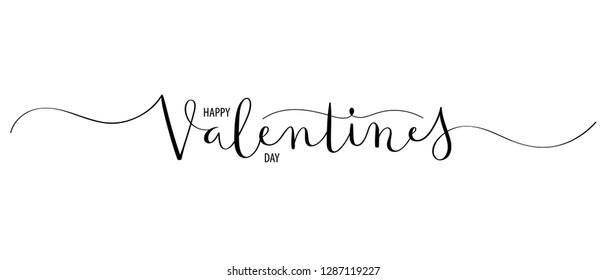 HAPPY VALENTINE'S DAY brush calligraphy banner