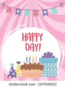 happy day, cake gift box party hat and pennants vector illustration