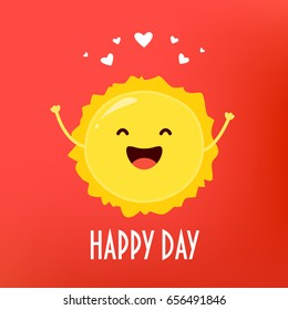 Happy Day card with cartoon sun and hearts. Flat style. Vector illustration.