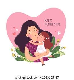 Happy mother's day card. Cute little girl hugging her mother in heart shaped.