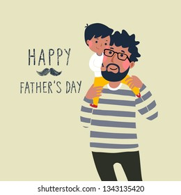 Happy father's day card. Cute little boy on his father's shoulder.