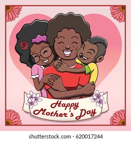 Happy Mother's Day Card -Family. Vector file contains gradient and transparency effects. Outline and color separated in different layers for easier editing.