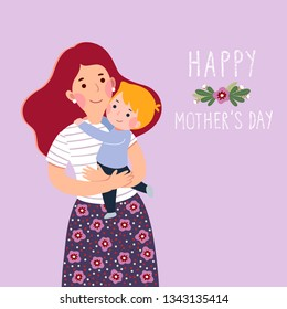 Happy mother's day card. Mother carrying her little son.