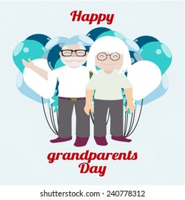 happy day Granparents illustration over color background  and balloons