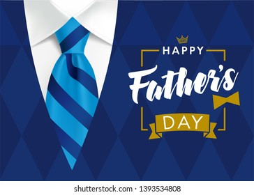 Happy Father's Day greeting card. Banner concept with striped blue tie and men's sweater rhombus shape color on background for father day. Vector illustration
