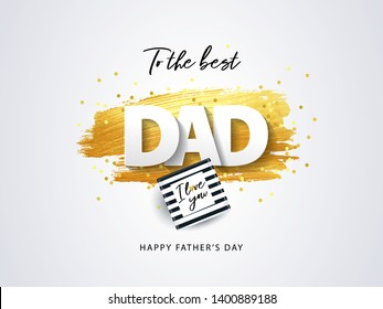 Happy Father's Day greeting card. Holiday illustration with gift box, sparkling confetti and texture of golden brush strokes on a white background. Father's day poster design, social and fashion ads