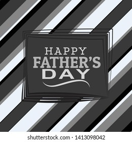 Happy Father's Day greeting Card. Vector illustration in black and grey colour.
