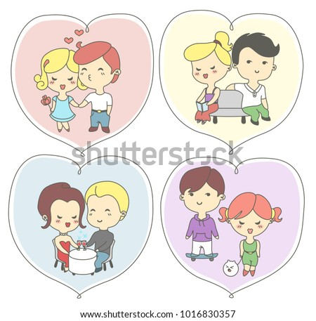 Happy day greeting cards lovers couples stock vector royalty free happy valentines day greeting cards with lovers the couples holding hands kissing meeting m4hsunfo