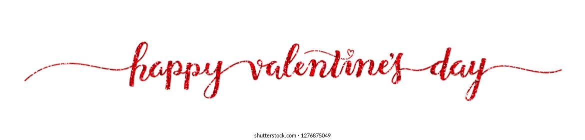HAPPY VALENTINE'S DAY hand lettering banner with heart