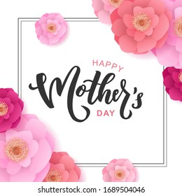 Happy Mother's day hand lettering text. Good for the holiday of mom, vector illustration. Typography. Card, poster, banner, invitation, postcard.