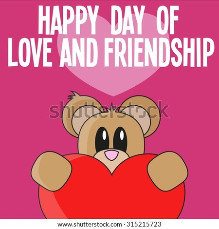 Happy Day Love Friendship Card Teddy Stock Vector Royalty Free