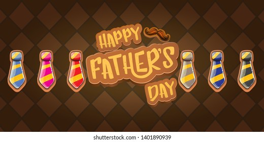 Happy Father's Day vector cartoon horizontal banner. Fathers day label or icon isolated on tweed plaid check pattern texture horizontal background