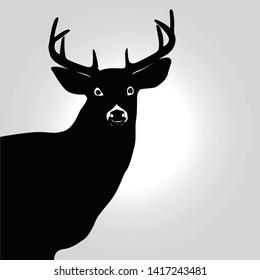 happy deer with antlers horns logo silhouette Vector art drawing in gray gradient background