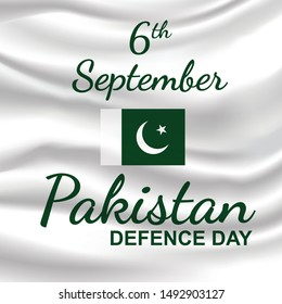 Happy Defence Day of Pakistan - 6th September. Vector illustration on white silk textile background.